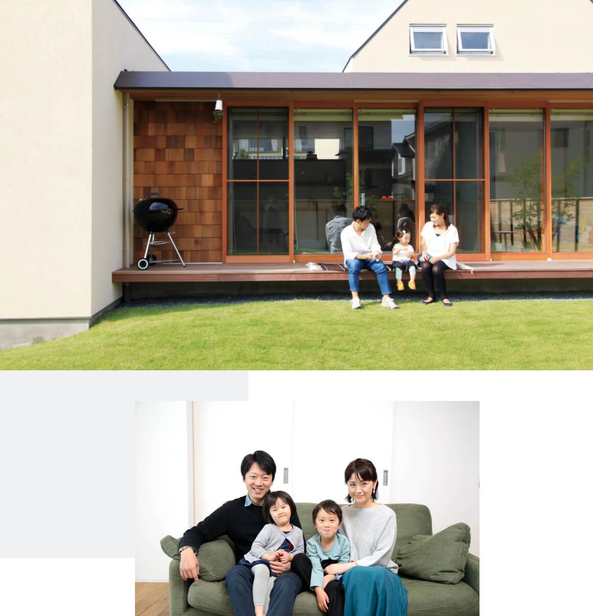 森住建住宅でくつろぐ家族の組写真