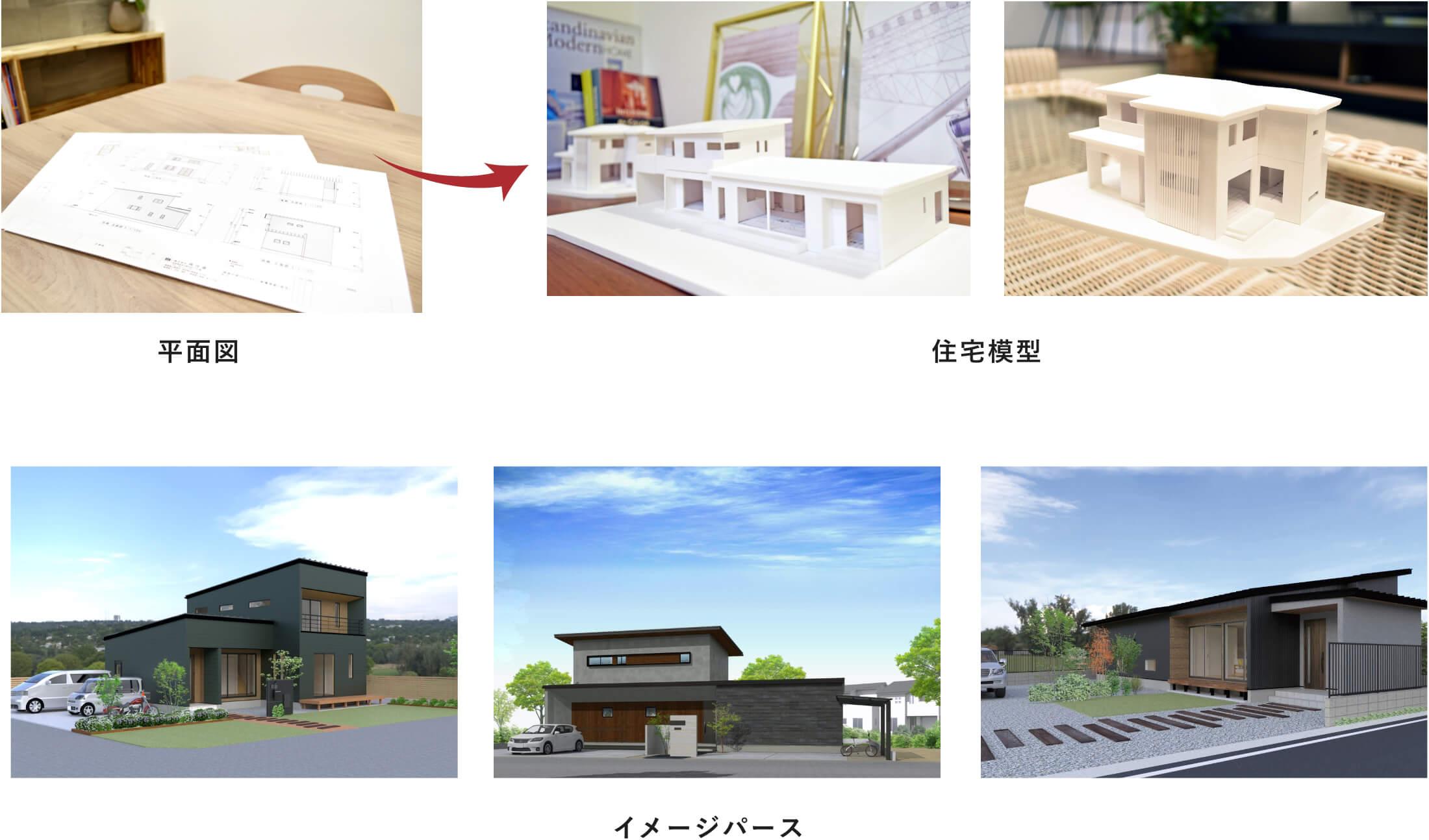 お客様の思い描いているイメージ通りの家がつくれるように、平面図から住宅模型と3DCGでのイメージパースを作成いたします