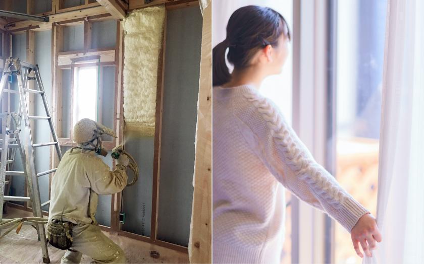 高性能断熱材「アクアフォーム LITE」と気密・断熱性能に優れたオール樹脂サッシ+アルゴンガス入りの高性能窓